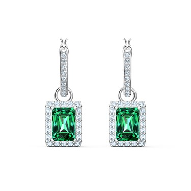 Swarovski Angelic Green Rectangular Drop Earrings  - Click to view larger image
