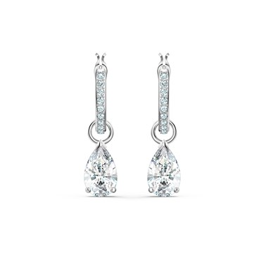 Swarovski Attract Silver Pear Mini Hoop Earrings  - Click to view larger image