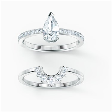 Swarovski Attract Silver Pear Ring Set Size 55   - Click to view larger image