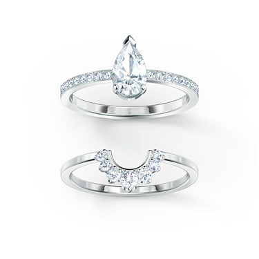 Swarovski Attract Silver Pear Ring Set Size 58   - Click to view larger image
