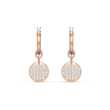 Swarovski Ginger Rose Gold Mini Hoop Earrings  - Click to view larger image