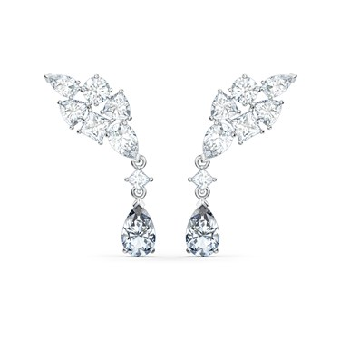 Swarovski Tennis Deluxe Silver Cluster Earrings  - Click to view larger image