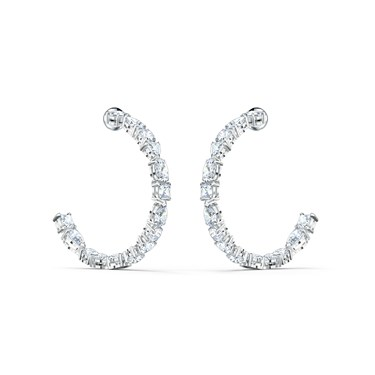 Swarovski Tennis Deluxe Silver Hoop Earrings  - Click to view larger image