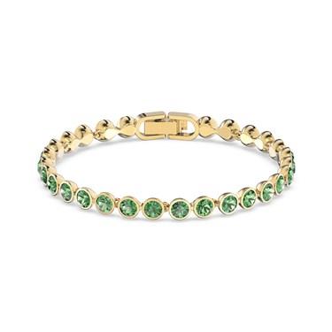 Swarovski Tennis Green & Gold Bracelet   - Click to view larger image