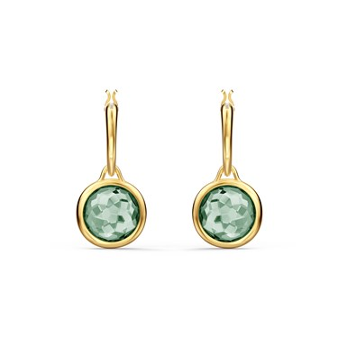 Swarovski Tahlia Gold & Green Mini Hoop Earrings  - Click to view larger image