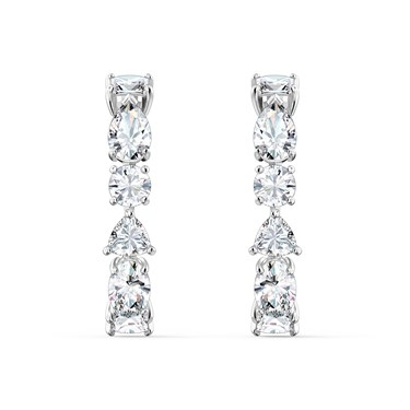 Swarovski Tennis Deluxe Silver Drop Earrings  - Click to view larger image