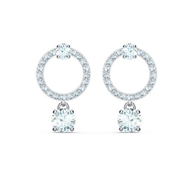 Swarovski Attract Silver Circle Earrings  - Click to view larger image