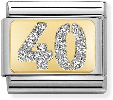 Nomination 40th Birthday Glitter Charm  - Click to view larger image