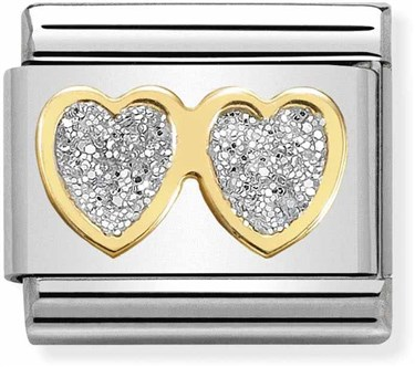 Nomination Double Hearts Glitter Charm  - Click to view larger image
