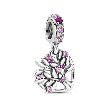 Pandora Family Tree Pink Heart Drop Charm  - Click to view larger image