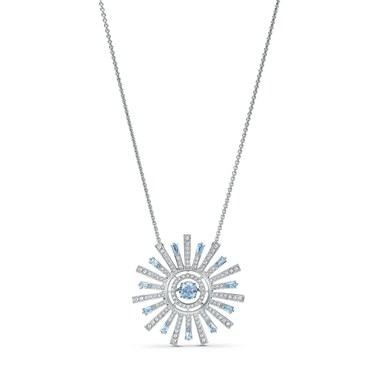 Swarovski Sunshine Blue + Silver Long Necklace  - Click to view larger image