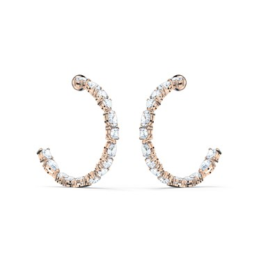 Swarovski Tennis Deluxe Rose Gold Hoop Earrings  - Click to view larger image