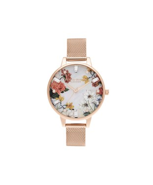 Olivia Burton Rose Gold Sparkle Flower Mesh Watch  - Click to view larger image
