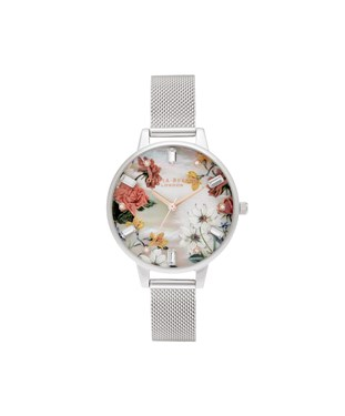 Olivia Burton Floral Mother Of Pearl Silver Mesh Watch  - Click to view larger image