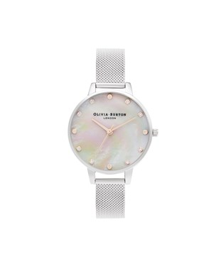 Olivia Burton Mother Of Pearl Silver Mesh Watch  - Click to view larger image