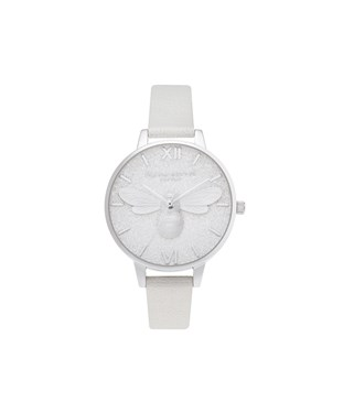 Olivia Burton Silver Shimmer Pearl Bee Watch  - Click to view larger image