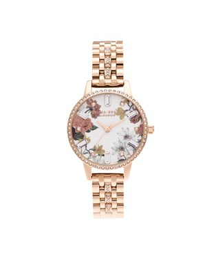 Olivia Burton Rose Gold Sparkle Floral Bracelet Watch  - Click to view larger image