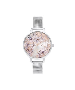 Olivia Burton Silver & Rose Gold Floral Mesh Watch  - Click to view larger image