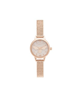 Olivia Burton Rose Gold Glitter Lucky Bee Mesh Watch  - Click to view larger image