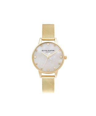 Olivia Burton Mother Of Pearl Pale Gold Mesh Watch  - Click to view larger image