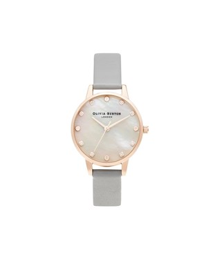 Olivia Burton Mother Of Pearl Grey & Rose Gold Watch  - Click to view larger image