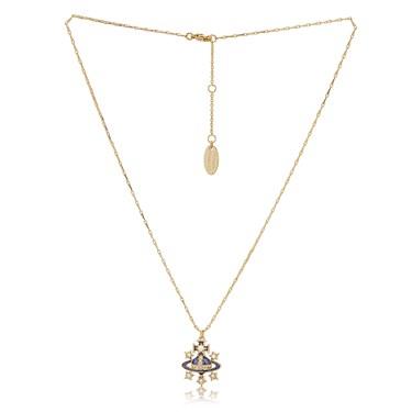 Vivienne Westwood Gold Cobalt Dalila Necklace  - Click to view larger image
