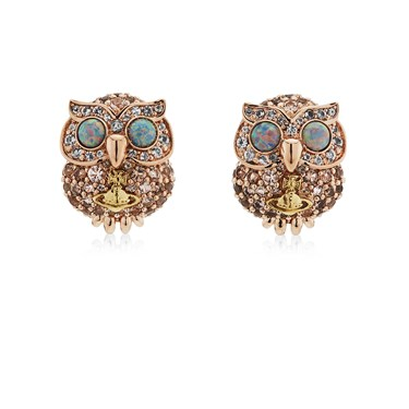 Vivienne Westwood Rose Gold Louisette Owl Earrings  - Click to view larger image