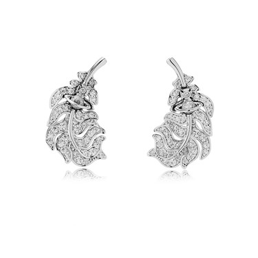Vivienne Westwood Rhodium Savannah Feather Earrings  - Click to view larger image