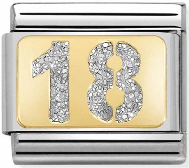 Nomination 18th Birthday Glitter Charm  - Click to view larger image