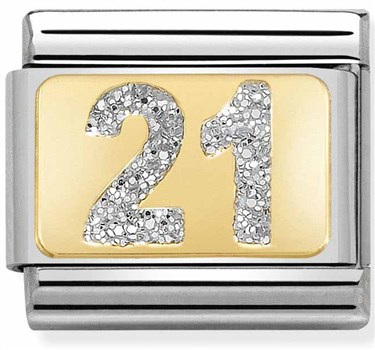 Nomination 21st Birthday Glitter Charm  - Click to view larger image