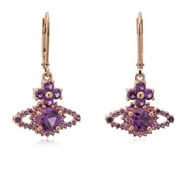 Vivienne Westwood Rose Gold Purple Valentina Drop Earrings  - Click to view larger image