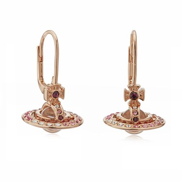 Vivienne Westwood Rose Gold Pink Claretta Drop Earrings  - Click to view larger image