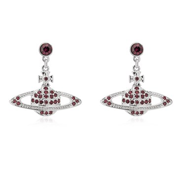 Vivienne Westwood Rhodium Red Mini Bas Relief Drop Earrings  - Click to view larger image