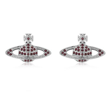Vivienne Westwood Rhodium Red Mini Bas Relief Earrings  - Click to view larger image