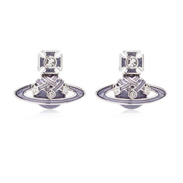 Vivienne Westwood Rhodium Lavender Rodica Earrings  - Click to view larger image