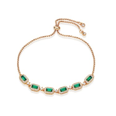 August Woods Gold & Green Crystal Pull Bracelet   - Click to view larger image