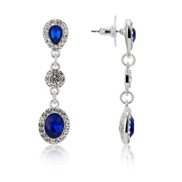 August Woods Silver & Blue Crystal Drop Earrings  - Click to view larger image