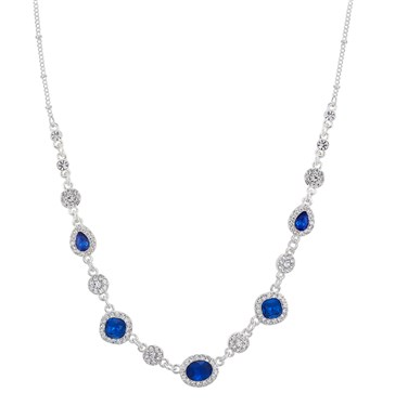 August Woods Silver & Blue Crystal Statement Necklace  - Click to view larger image