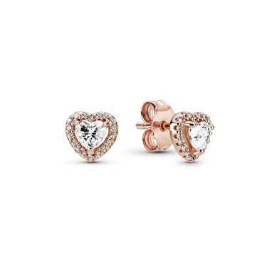 Pandora Rose Sparkling Elevated Heart Earrings  - Click to view larger image