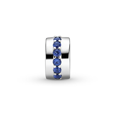 Pandora Blue Sparkle Clip Charm  - Click to view larger image