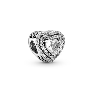 Pandora Sparkling Levelled Hearts Charm  - Click to view larger image