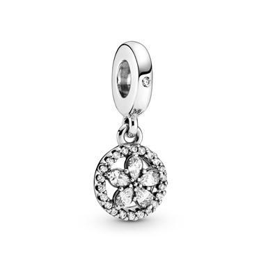 Pandora Sparkling Snowflake Circle Drop Charm   - Click to view larger image