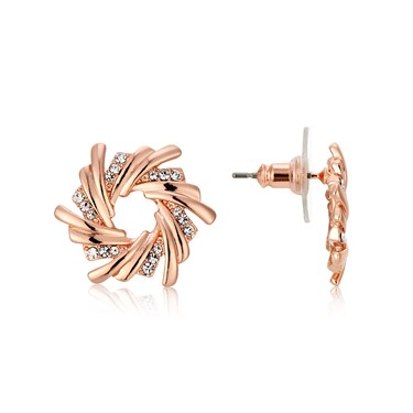 August Woods Rose Gold Crystal Wreath Earrings  - Click to view larger image