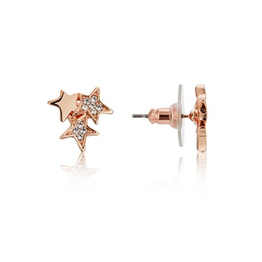 August Woods Rose Gold Crystal Star Earrings  - Click to view larger image