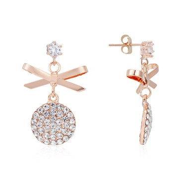 August Woods Rose Gold Crystal Bow Drop Earrings  - Click to view larger image