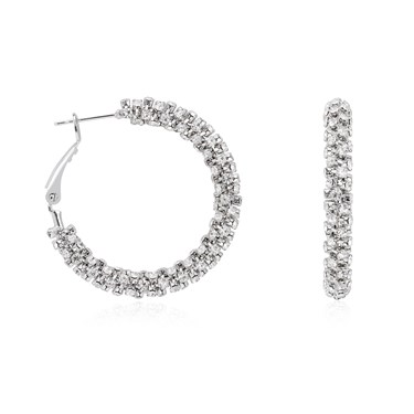 August Woods Silver Crystal Hoop Earrings  - Click to view larger image