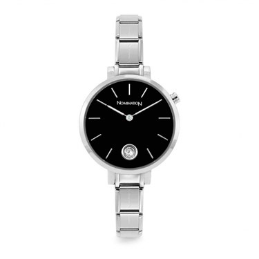 Nomination Silver & Black Paris Crystal Watch   - Click to view larger image