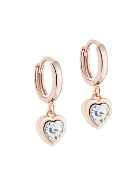 Ted Baker Rose Gold Crystal Heart Huggie Earrings  - Click to view larger image