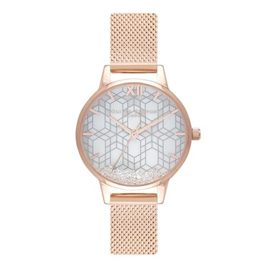 Olivia Burton Rose Gold Crystal Snow Globe Watch  - Click to view larger image