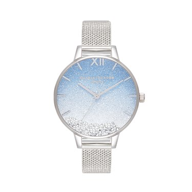 Olivia Burton Wishing Wave Silver Crystal Mesh Watch  - Click to view larger image